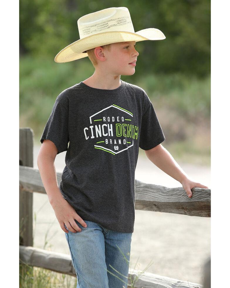 Cinch Boys' Rodeo Denim Brand Graphic T-Shirt , Black, hi-res