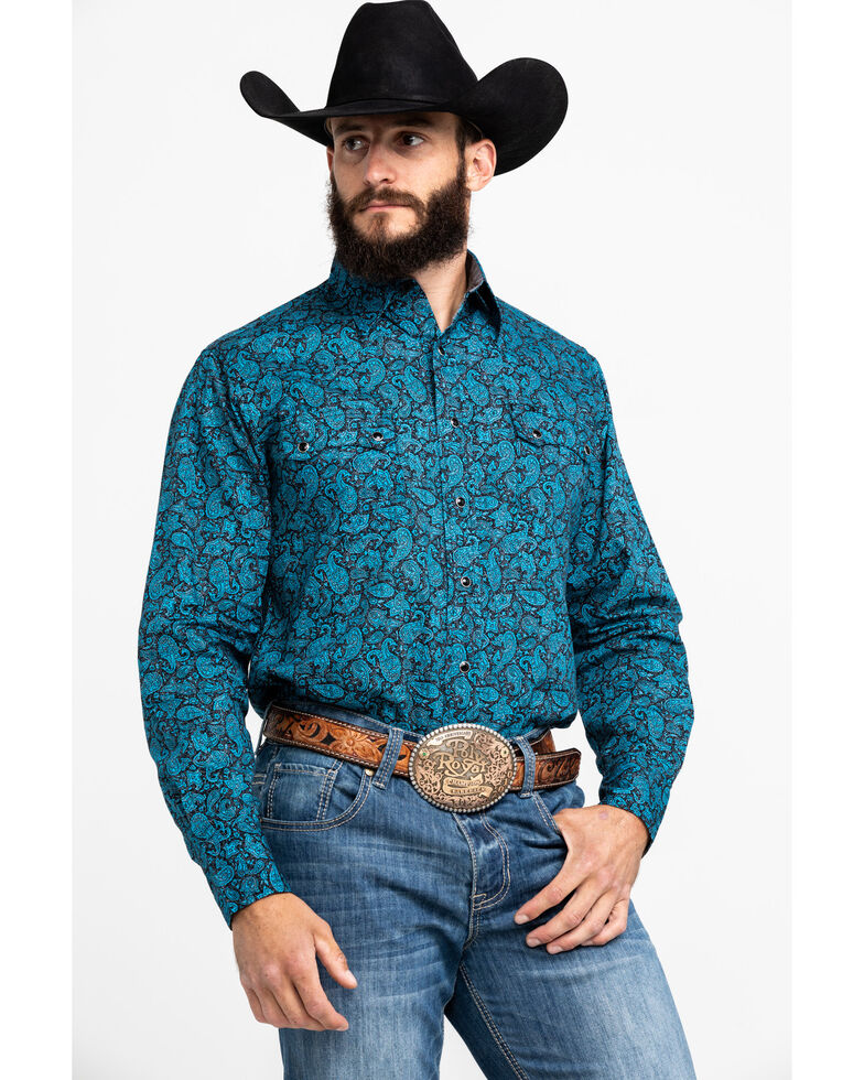 Roper Men's Crackle Paisley Print Long Sleeve Western Shirt , Blue, hi-res