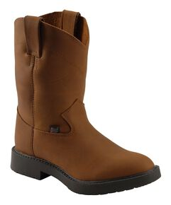 Justin Kids' Aged Bark Pull-On Work Boots - Round Toe, Aged Bark, hi-res