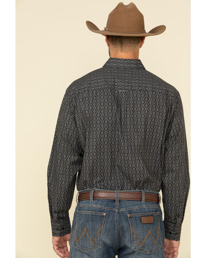 Tuf Cooper Men's Black Stretch Geo Poplin Print Long Sleeve Western Shirt , Black, hi-res