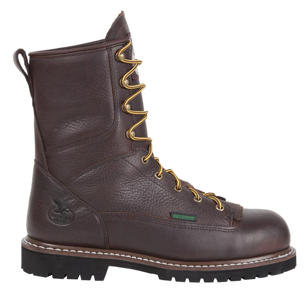 "Georgia Waterproof 8"" Low Heel Logger Work Boots - Round Toe, Chocolate, hi-res"