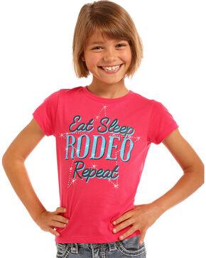 Rock & Roll Cowgirl Girls' Pink Eat Sleep Rodeo Tee , Pink, hi-res