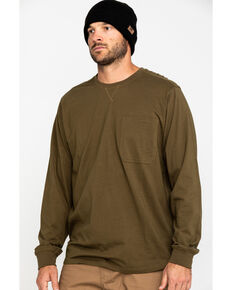 Hawx Men's Olive Pocket Long Sleeve Work T-Shirt , Olive, hi-res