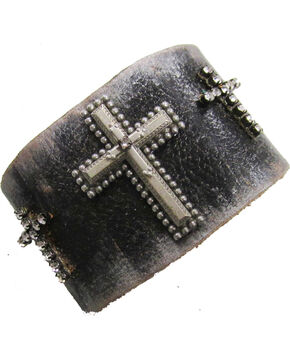 Cowgirl Confetti by AndWest Three Crosses Leather Cuff, Brown, hi-res