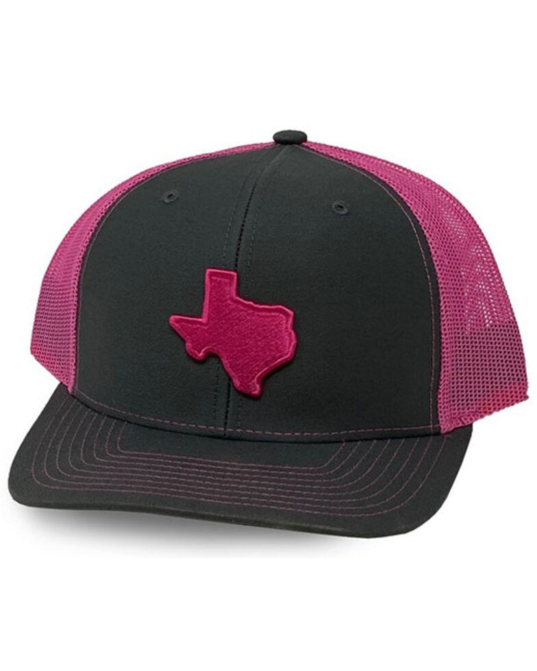 Oil Field Hats Men's Pink/Black Texas State Patch Mesh-Back Ball Cap, Grey, hi-res