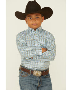 Panhandle Boys' Sky Blue Geo Print Long Sleeve Button-Down Western Shirt , Blue, hi-res