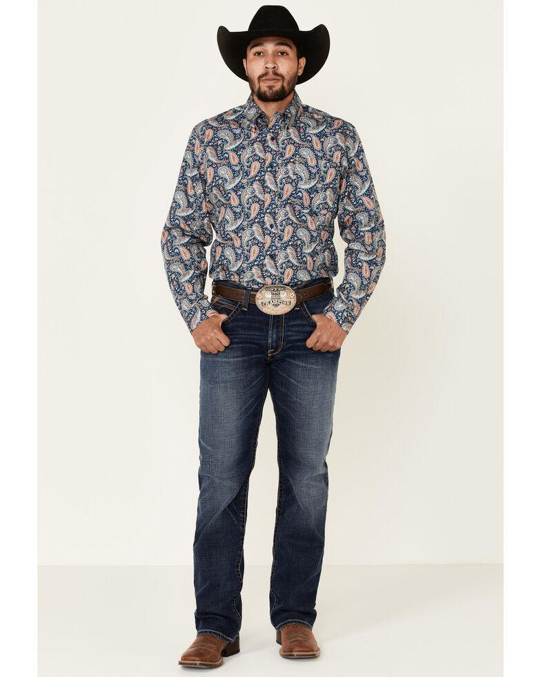 Cinch Men's Modern Fit Large Paisley Print Long Sleeve Western Shirt , Navy, hi-res