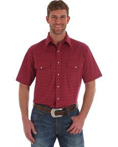 Wrangler Men's Wrinkle Resist Red Plaid Short Sleeve Western Shirt , Red, hi-res