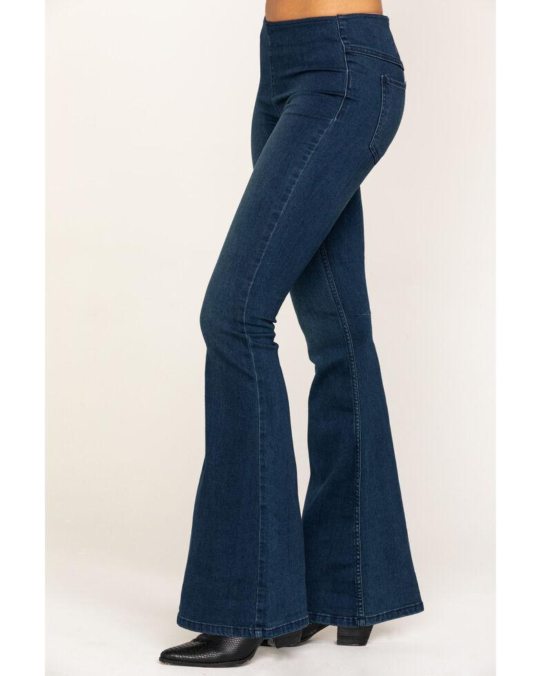Free People Women's Dark Blue Flare Penny Pull On Jeans, Dark Blue, hi-res