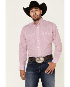 George Strait By Men's White Small Geo Print Long Sleeve Button-Down Western Shirt - Big, White, hi-res