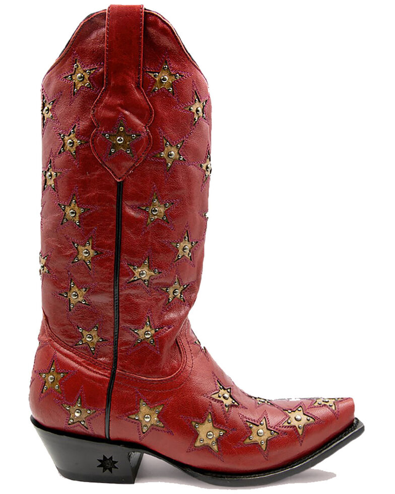Black Star Women's Marfa Western Boots - Snip Toe, Red, hi-res