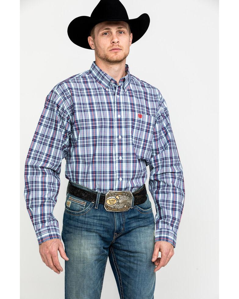 Cinch Men's Light Blue Plaid Long Sleeve Western Shirt , Light Blue, hi-res