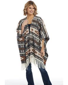 Cripple Creek Women's Beige Navajo Blanket Wrap Poncho , Beige/khaki, hi-res