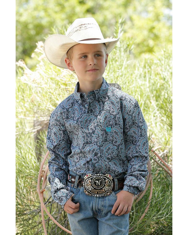 Cinch Boys' Grey Paisley Print Long Sleeve Western Shirt , Grey, hi-res