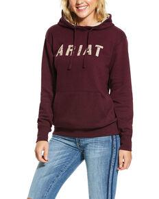 Ariat Women's Burgundy R.E.A.L. Logo Hoodie, Burgundy, hi-res