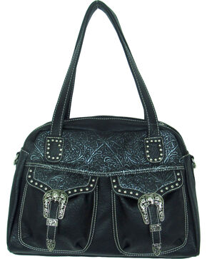 Savana Women's Faux Leather Double Pocket Handbag , Black, hi-res