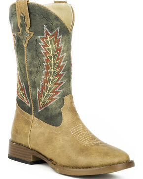 Roper Youth Boys' Tan Arrowheads Cowboy Boots - Square Toe , Tan, hi-res