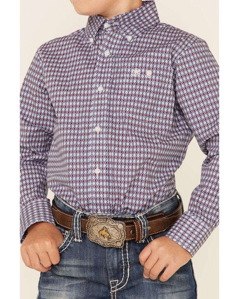 Wrangler Boys' Multi Diamond Geo Print Long Sleeve Button-Down Western Shirt , Multi, hi-res