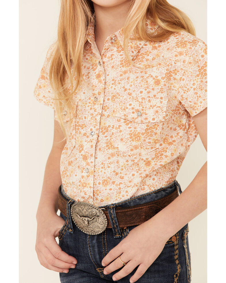Shyanne Girls' Off White Floral Print Tie-Front Short Sleeve Button-Down Western Shirt , Off White, hi-res