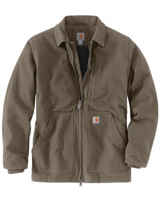 Carhartt Men's Brown M-Washed Duck Sherpa-Lined Work Coat - Tall , Medium Brown, hi-res