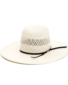"""American Hat Company Men's Natural 4.25"""" Open Crown Western Straw Hat , Natural, hi-res"""