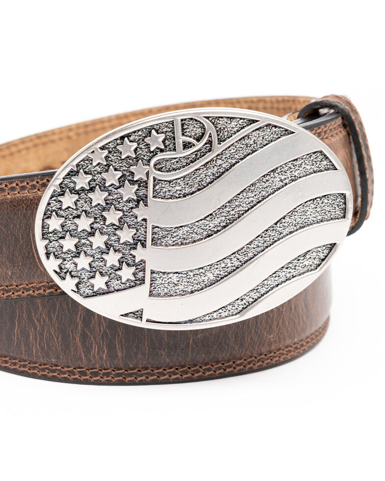 Cody James Men's Brown American Flag Oval Western Buckle Belt , Brown, hi-res