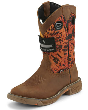 Justin Men's Stampede Rush Western Work Boots - Square Toe, Orange, hi-res