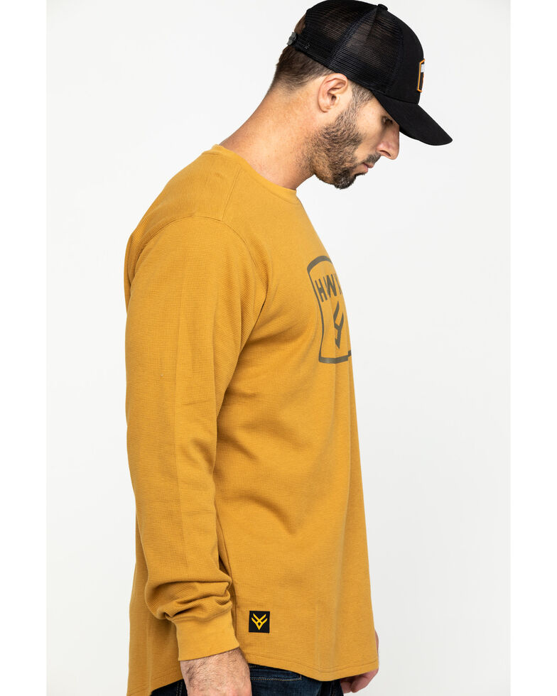 Hawx Men's Brown Box Logo Graphic Thermal Long Sleeve Work Shirt , Brown, hi-res