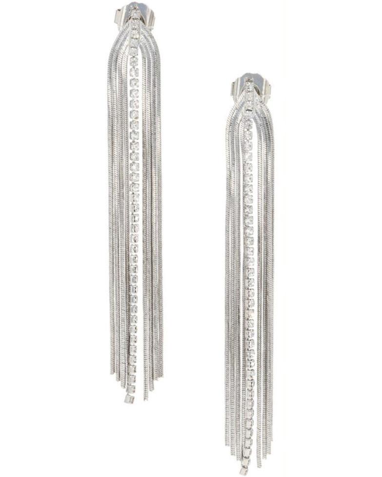 Montana Silversmiths Women's Chain Fringe Earrings, Silver, hi-res