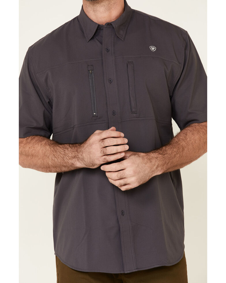 Ariat Men's Charcoal VentTek Solid Short Sleeve Button Western Shirt - Big , Charcoal, hi-res