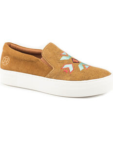Roper Women's Darcy Metallic Canvas Aztec Embroidered Slip On Shoes - Round Toe, Tan, hi-res