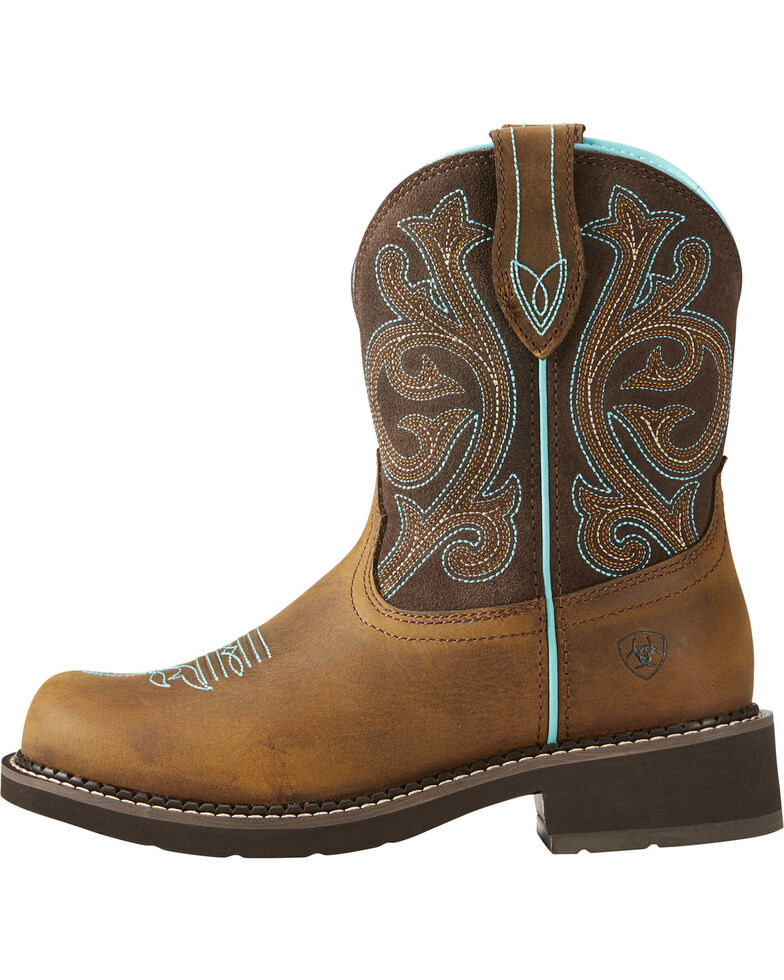 Ariat Fatbaby Women's Heritage Brown/Turquoise Cowgirl Boots - Round Toe, Brown, hi-res
