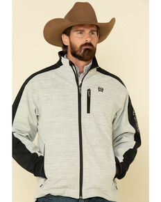 Cinch Men's Grey Color Blocked Textured Logo Bonded Jacket , Grey, hi-res
