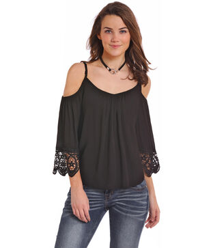 Panhandle Women's 3/4 Sleeve Cold Shoulder Lace Long Sleeve Top, Black, hi-res