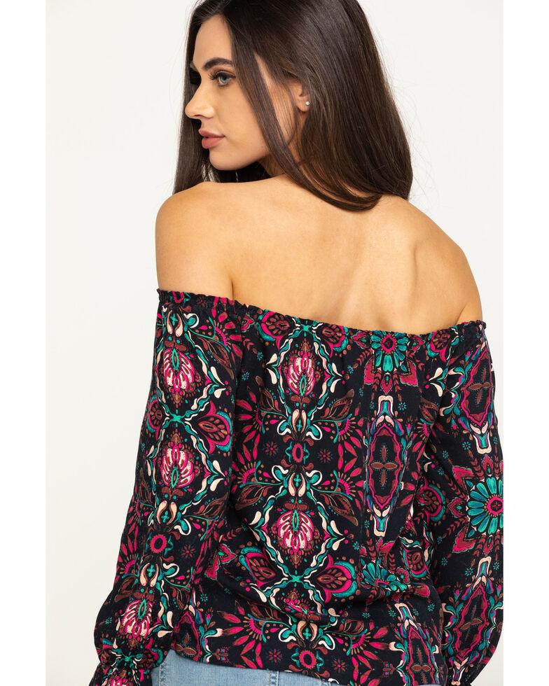 Shyanne Women's Black Multi Print Off The Shoulder Top, Black, hi-res