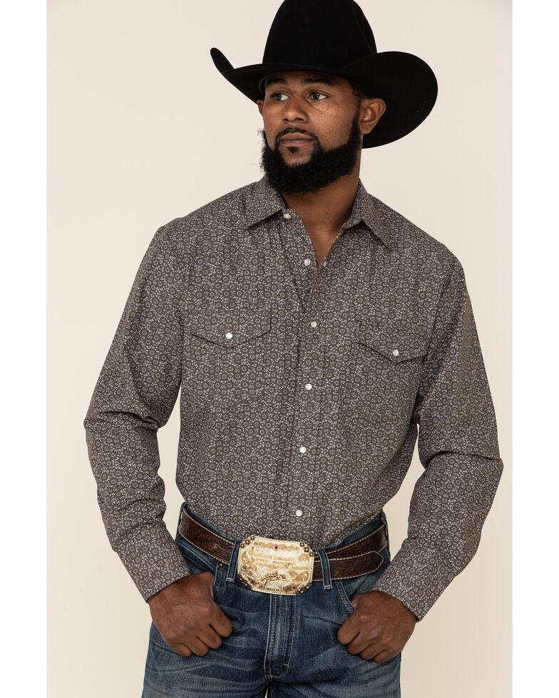 Roper Men's Cream Classic Floral Print Long Sleeve Western Shirt , Grey, hi-res