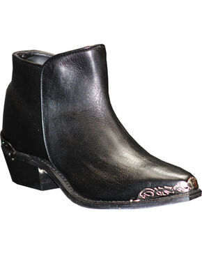 Abilene Women's Black Demi Zipper Booties - Snip Toe , Black, hi-res