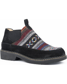 Roper Women's Isabel Aztec Fabric Suede Slip On Shoes - Round Toe, Black, hi-res