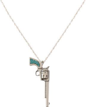 Silver Legends Women's Turquoise Long Barrel Pistol Necklace , Turquoise, hi-res