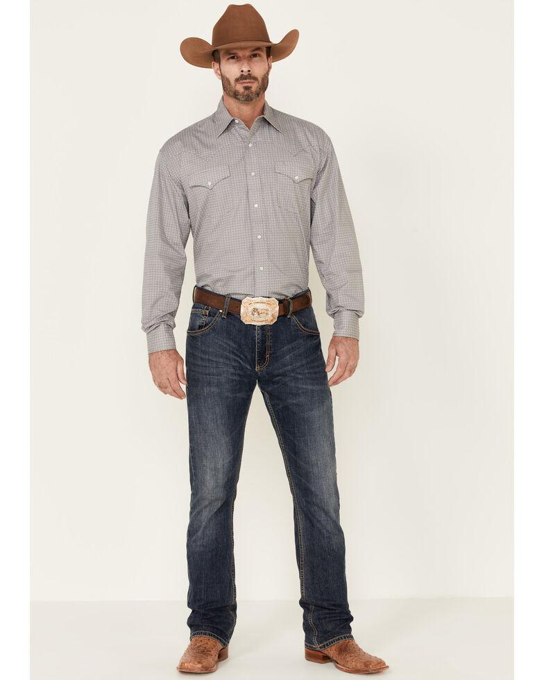 Stetson Men's Grey Square Geo Print Long Sleeve Snap Western Shirt , Grey, hi-res