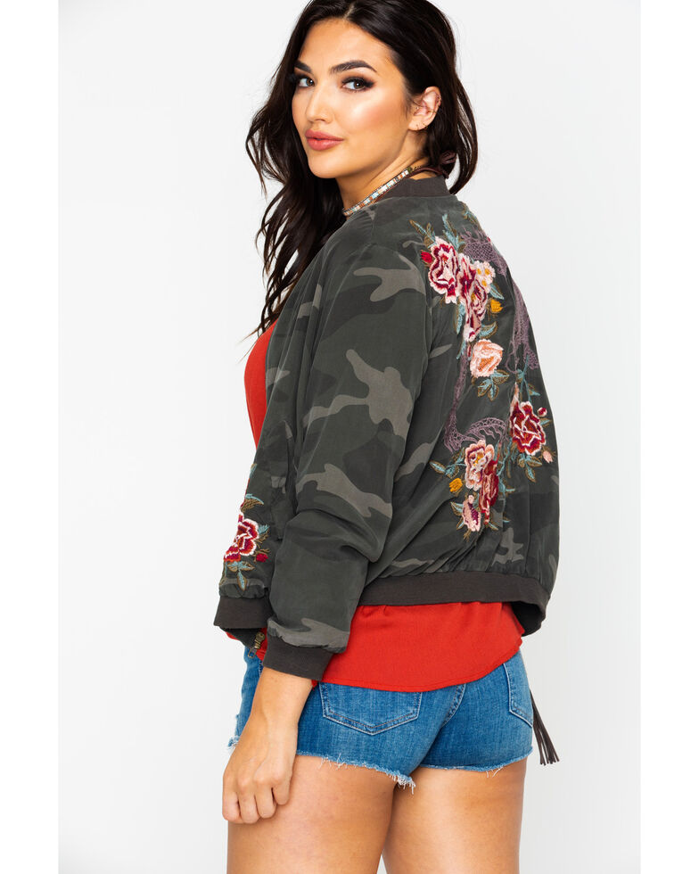 Johnny Was Women's Dragon Bomber Embroidered Jacket , Camouflage, hi-res