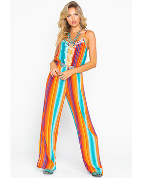 Rock & Roll Cowgirl Women's All Over Serape Print Jumpsuit , Multi, hi-res