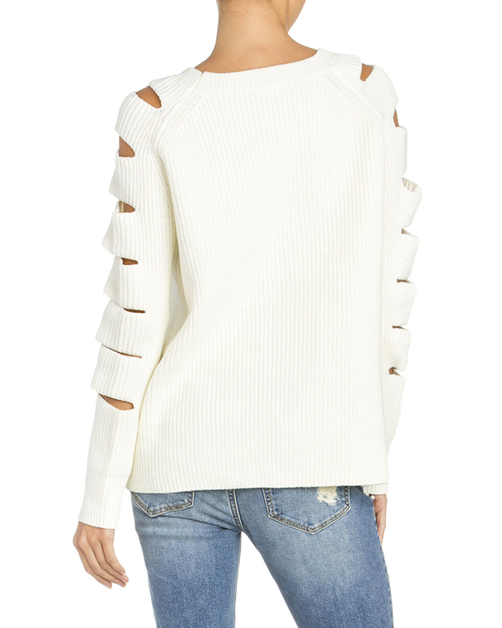 Miss Me Women's Ladder Cut Out Long Sleeve Sweater, Ivory, hi-res