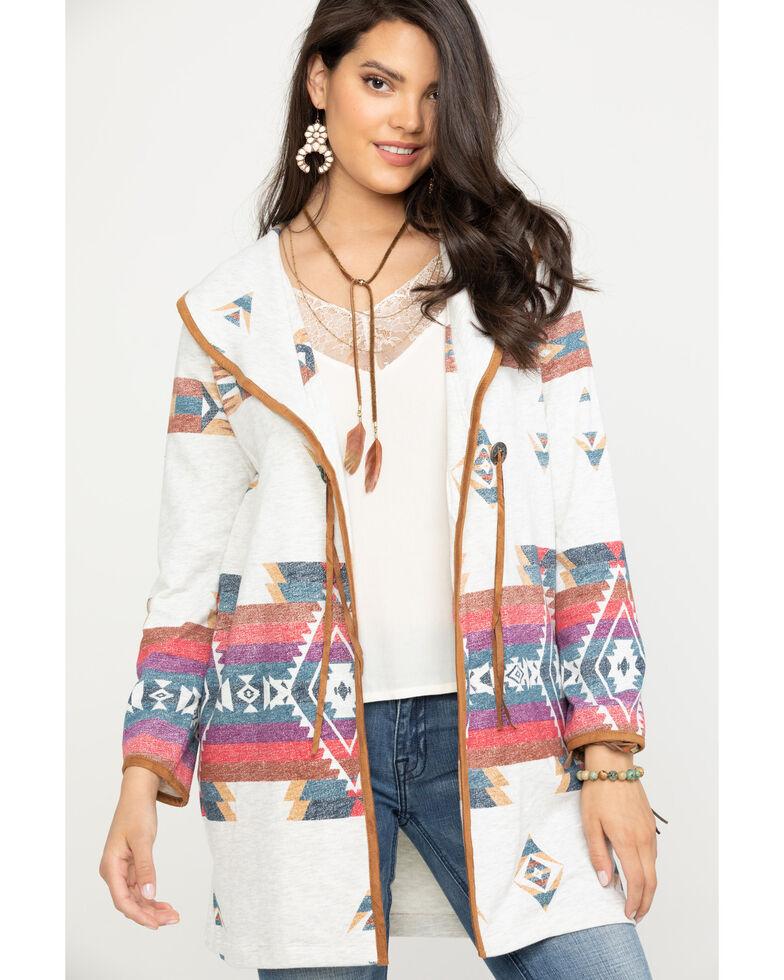 Wrangler Women's Oatmeal Aztec Cardigan , Multi, hi-res