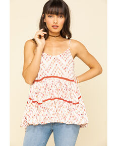 Miss Me Women's Ivory & Red Print Tiered Top, Rust Copper, hi-res