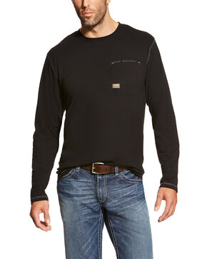 Ariat Men's Rebar Workman Long Sleeve Work T-Shirt - Big, Black, hi-res