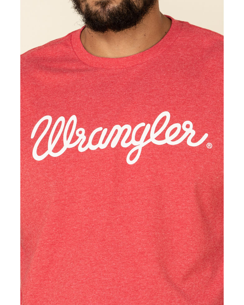 Wrangler Men's Red Heather Signature Logo Graphic Short Sleeve T-Shirt , Red, hi-res