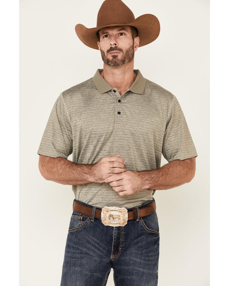 Cody James Core Men's Grey Bogey Stripe Short Sleeve Polo Shirt , Heather Grey, hi-res