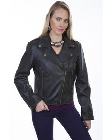 Scully Women's Concealed Carry Moto  Leather Jacket, Black, hi-res