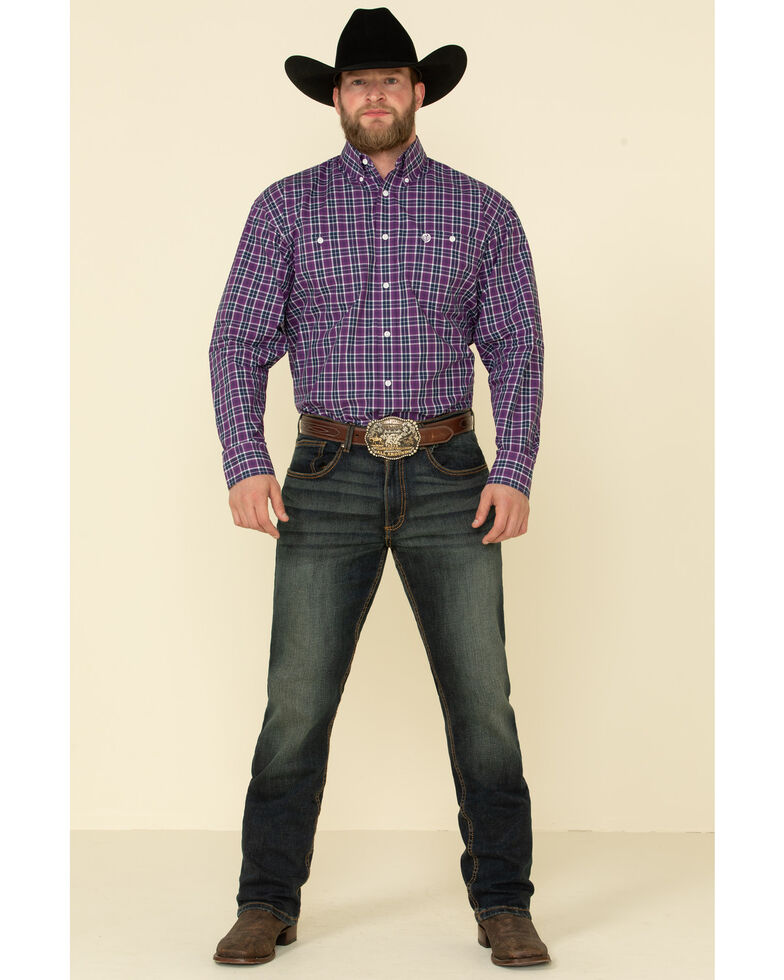 George Strait By Wrangler Men's Purple Plaid Long Sleeve Western Shirt , Purple, hi-res
